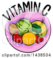 Clipart Of A Pink Icon With Vitamin C Text And Food Royalty Free Vector Illustration