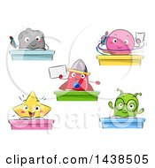 Clipart Of Space Creature Students At Desks Royalty Free Vector Illustration by BNP Design Studio