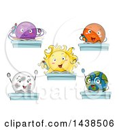 Clipart Of Solar System Planet Students At Desks Royalty Free Vector Illustration by BNP Design Studio
