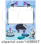 Clipart Of A Blank White Board With A Party Banner And Science Themed Items Royalty Free Vector Illustration by BNP Design Studio