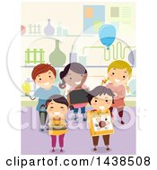 Clipart Of A Group Of Proud School Children Presenting Science Projects Royalty Free Vector Illustration