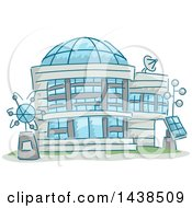 Clipart Of A Sketched Science Research Center Building Royalty Free Vector Illustration