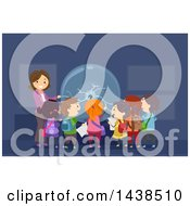 Clipart Of A Female Teacher And A Group Of Children Observing A Plasma Ball Royalty Free Vector Illustration