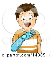 Clipart Of A Happy Brunette White Boy Using A Bionic Prosthetic Arm Royalty Free Vector Illustration