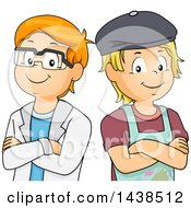 Clipart Of A Blond And Red Haired White Boys Standing Shoulder To Shoulder One A Scientist And The Other An Artist Royalty Free Vector Illustration by BNP Design Studio