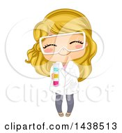 Clipart Of A Happy Blond White Girl Grinning Wearing A Lap Coat And Holding A Test Tube Royalty Free Vector Illustration by BNP Design Studio