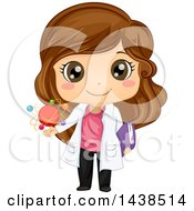Clipart Of A Happy Brunette White Girl Scientist Holding A Book And Atomic Model Royalty Free Vector Illustration