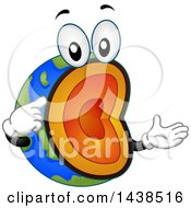 Clipart Of A Cross Section And Layered Earth Mascot Royalty Free Vector Illustration