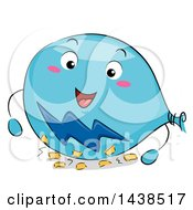 Clipart Of A Happy Balloon Mascot Rubbing Against Paper To Show Static Electricity Royalty Free Vector Illustration