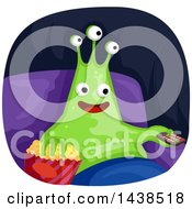 Clipart Of A Happy Alien Watching Tv And Eating Popcorn Royalty Free Vector Illustration by BNP Design Studio