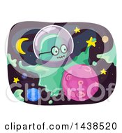 Clipart Of A Slime Monster In Outer Space Royalty Free Vector Illustration by BNP Design Studio