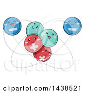 Clipart Of A Scientific Atomic Model Featuring Positive Negative And Neutral Particles Royalty Free Vector Illustration