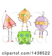 Clipart Of Geometric Shaped Robots Royalty Free Vector Illustration