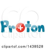 Clipart Of The Word Proton With A Positively Charged Particle Replacing The Letter O Royalty Free Vector Illustration