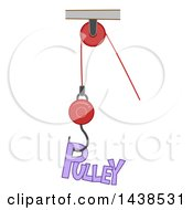 Clipart Of The Word Pulley Attached To A Hook Moved By A Cord Royalty Free Vector Illustration