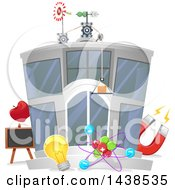 Clipart Of A Physics Research Center Building Royalty Free Vector Illustration