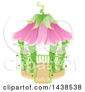 Clipart Of A Fairy Garden Gazebo With Vines And Flowers Royalty Free Vector Illustration