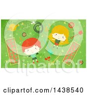 Clipart Of A Red Haired Boy And Blond Girl Laying On Grass In A Garden Royalty Free Vector Illustration