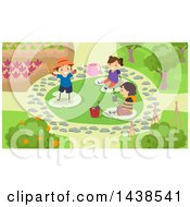 Clipart Of A Group Of School Children Landscaping A Garden Royalty Free Vector Illustration