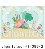 Clipart Of A Sketched Group Of Children With Giant Produce In A Garden Royalty Free Vector Illustration