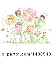 Group Of Sketched Children As Flowers In A Garden