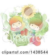 Clipart Of A Sketched Boy And Girl In A Garden With Giant Produce Royalty Free Vector Illustration