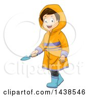 Clipart Of A Happy Brunette White Boy Wearing A Rain Coat And Holding A Garden Trowel Royalty Free Vector Illustration