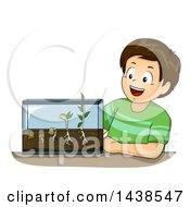 Clipart Of A Happy Brunette White Boy With A Germination Experiment Royalty Free Vector Illustration