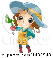 Clipart Of A Brunette White Girl Holding Up A Beet From Her Garden Royalty Free Vector Illustration