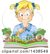 Clipart Of A Happy Blond White Girl Reading A Popup Gardening Book Royalty Free Vector Illustration