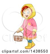 Clipart Of A Happy Red Haired White Girl In A Rain Coat Carrying A Basket Royalty Free Vector Illustration