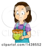 Clipart Of A Sad Brunette White Girl Holding A Pot Without A Plant Royalty Free Vector Illustration