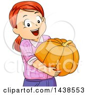 Clipart Of A Happy Red Haired White Girl Carrying A Pumpkin Royalty Free Vector Illustration