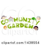 Clipart Of The Wprds Community Garden Surrounded By Village Residents Royalty Free Vector Illustration by BNP Design Studio