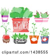Clipart Of Recycled Containers For Indoor Plants Royalty Free Vector Illustration