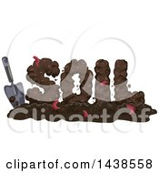 Clipart Of A Hand Trowel And The Word SOIL With Worms Royalty Free Vector Illustration