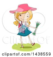 Clipart Of A Happy White Girl Exploring And Holding A Map Royalty Free Vector Illustration