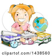 Clipart Of A Happy Red Haired White School Girl Studying Royalty Free Vector Illustration