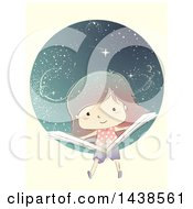Clipart Of A White Girl Reading A Book And Floating In Outer Space Royalty Free Vector Illustration by BNP Design Studio