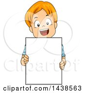Happy Red Haired White Boy Holding A Blank Board