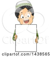 Clipart Of A Happy Muslim Boy Holding A Blank Board Royalty Free Vector Illustration