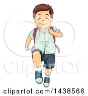 Clipart Of A Happy Brunette White Boy Marching To School Royalty Free Vector Illustration