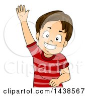 Clipart Of A Happy Brunette White Boy Royalty Free Vector Illustration