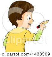 Clipart Of A Happy Brunette White Boy Writing With A Pencil Royalty Free Vector Illustration by BNP Design Studio