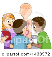 Clipart Of A Group Of Happy School Children Studying An Anatomical Model Royalty Free Vector Illustration