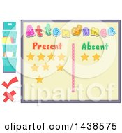 Clipart Of A School Attendance Board Royalty Free Vector Illustration