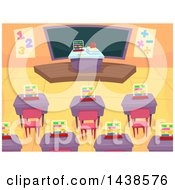Clipart Of A Math Class Room With Desks And A Chalk Board Royalty Free Vector Illustration by BNP Design Studio
