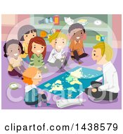 Clipart Of A Male Teacher And A Group Of School Children Studying A Map Royalty Free Vector Illustration