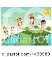 Poster, Art Print Of Group Of Safari Children On A Globe