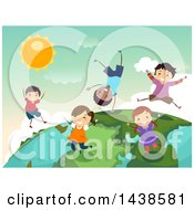 Clipart Of A Group Of Happy Children Playing On Top Of A Globe Royalty Free Vector Illustration